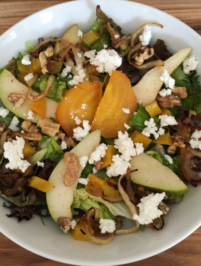 Golden Beet, Pear & Goat Cheese Salad