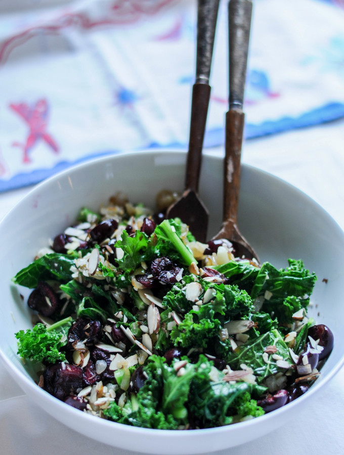 Roasted Cherry & Kale Salad