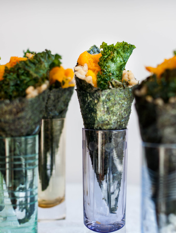 Japanese Pumpkin Temaki with Ginger Kale Chips