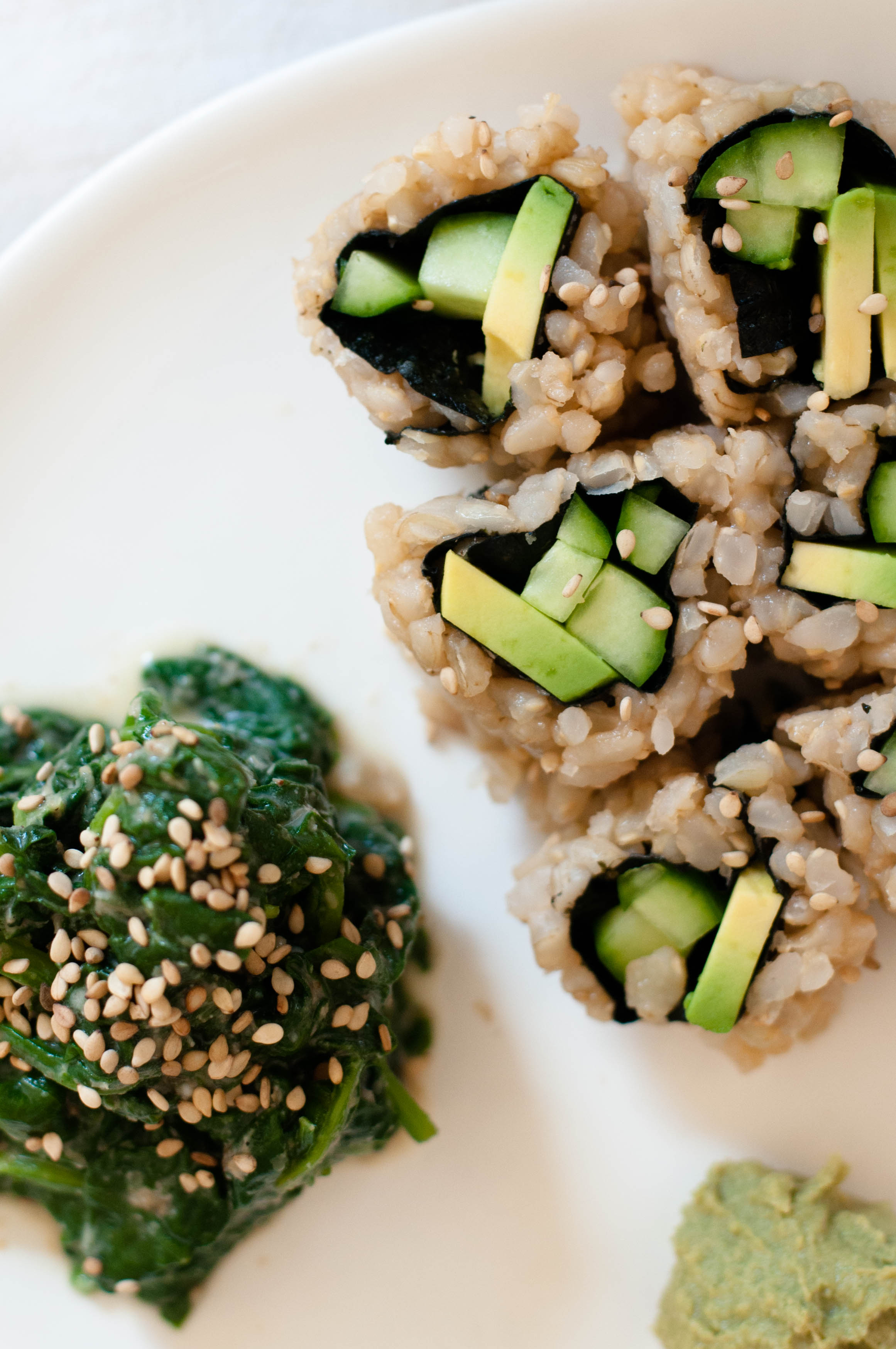 Vegetable Sushi Roll & Spinach Sesame Miso Salad (Goma-ae) - The Scratch Artist