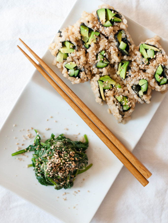 Sesame Miso Spinach Salad (Goma-ae) & Vegetable Sushi
