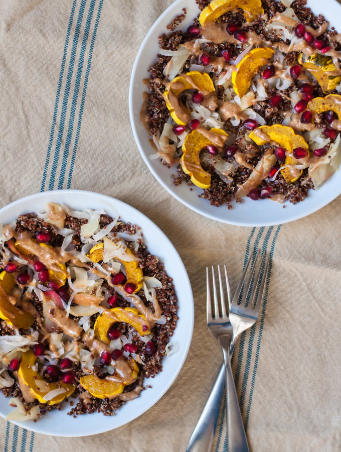Toasted Quinoa Delicata Squash Bowls with Almond Butter Sauce & Pickled Apples