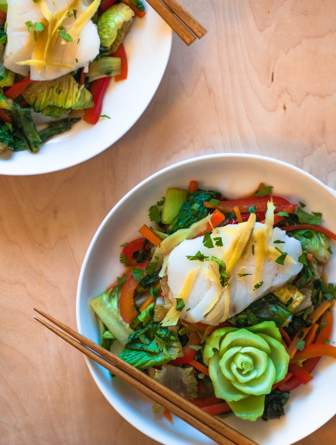 Ginger Steamed Cod with Salad Stir Fry
