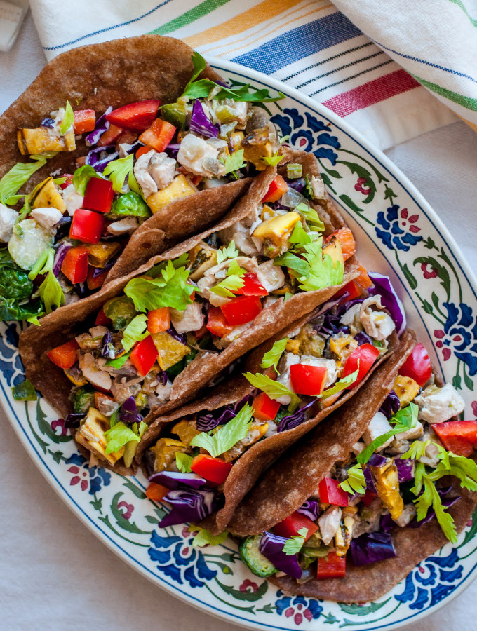 Rainbow Chicken Salad Soft Tacos with Homemade Sprouted Wheat Tortillas