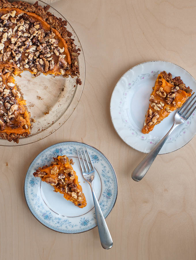Sweet Potato Pie with Apple & Oat Crust Gluten Free & Sugar Free
